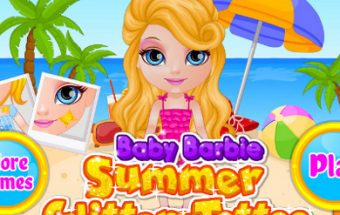 Baby Barbie Summer Glitter Tattoo