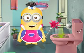 Minion Girl Fix the Bathroom